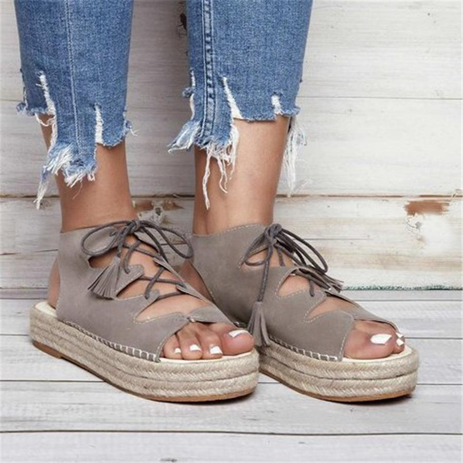 Roman Flock Platform Sandals For Women Casual Shoes Summer Female Sandals Thick-Bottom Ladies Lace-up Woven Sandalias Mujer 2019