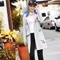 2016 Осень Зима Женщин Плюс Размер L-5Xl Повседневная Плащ Мода Патч Дизайн Цвет Блока Длинная Верхняя Одежда RS502
