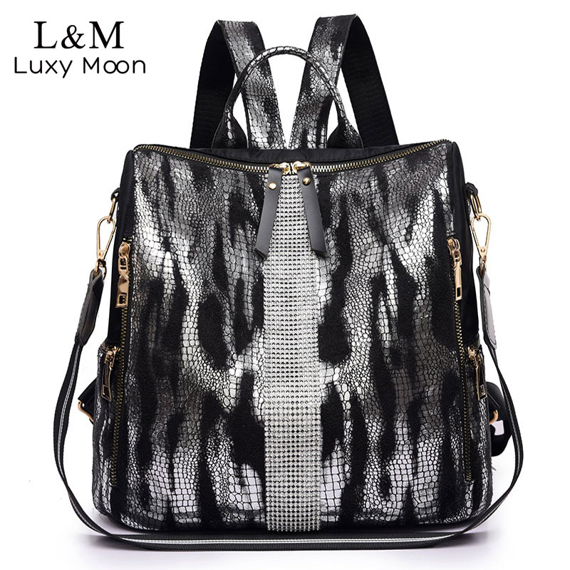 Animal Prints Backpack Women 2019 School Bags For Teenage Girls Vintage Diamonds Bagpack Large Capacity Travel Backpack XA445H