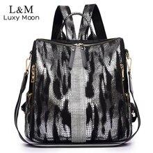 Animal Prints Backpack Women 2020 School Bags for Teenage Girls Vintage Diamonds Bagpack Large Capacity Travel Backpack XA445H