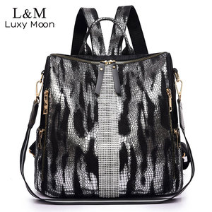 Image 1 - Animal Prints Backpack Women 2020 School Bags for Teenage Girls Vintage Diamonds Bagpack Large Capacity Travel Backpack XA445H