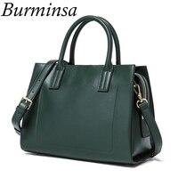 Burminsa Brand Vintage Genuine Leather Bags Ladies Tote Shoulder Bags Large Capacity Designer Handbags Women Messenger