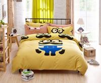 Lindo Minions Cartoon Bedding Set Bigote Duvet Cover Set de Cama hoja de ropa de Cama para Niños Adultos Regalo de Las Muchachas de Envío gratis