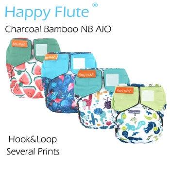 HappyFlute neugeborenen Holzkohle Bambus AIO, innen genäht einfügen, doppel undichten wachen, wasserdicht, passt 0-3months baby oder 6-12 £,