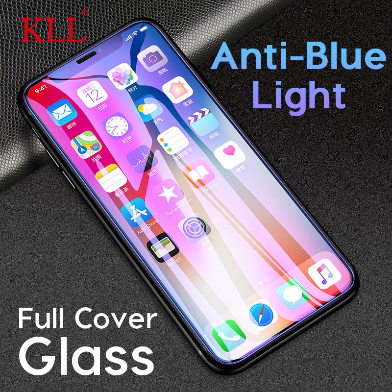 2.5D Anti-blue Light Full Cover Tempered Glass For IPhone 11 Pro Max X XS MAX XR Screen Protector For IPhone 8 7 6 6s Plus Glass