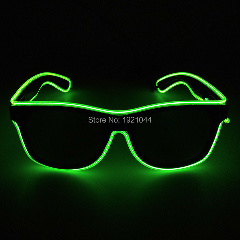 Fashion EL Wire Glasses with Dark lens Neon Clod light Glasses Luminous Colorful Glowing Dance DJ Party Decorative
