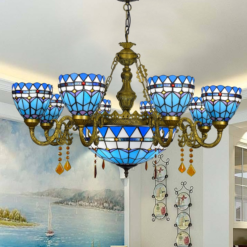 Mediterranean blue living room dining room multi head crystal pendant lamp 6 head 8 remote control lamps and lanterns110-240vMediterranean blue living room dining room multi head crystal pendant lamp 6 head 8 remote control lamps and lanterns110-240v