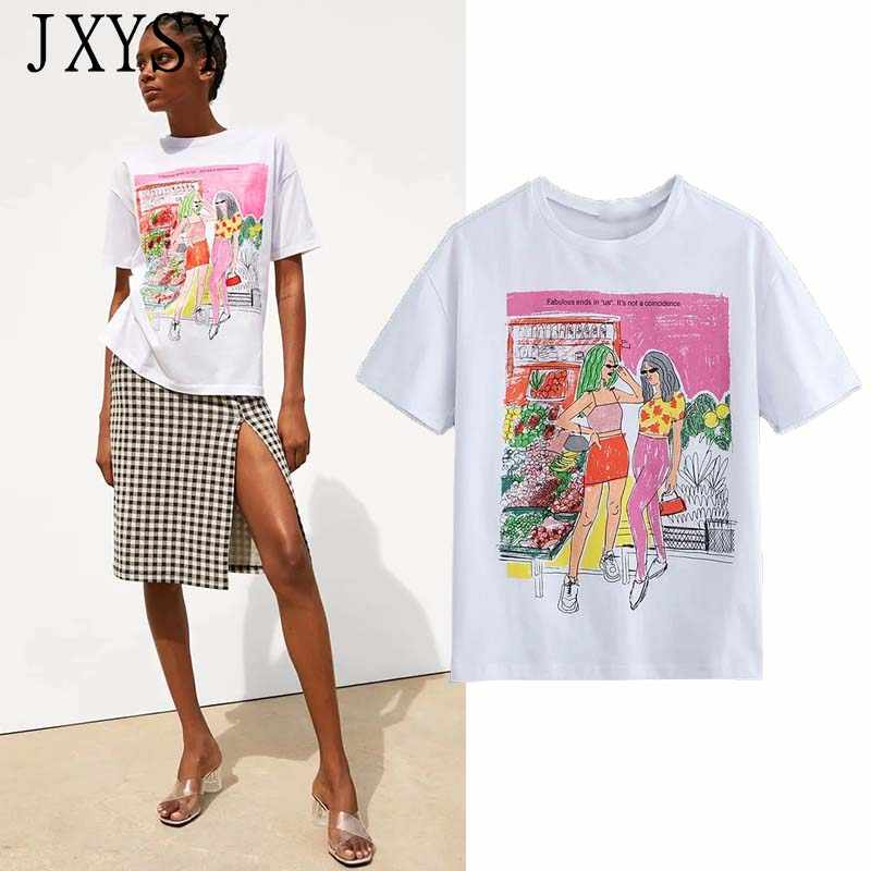 JXYSY 2019 t-shirt women england style vintage cartoon letter character printing o-neck cotton t shirt women tops