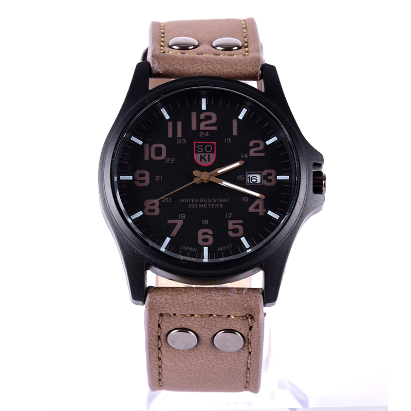 Men's Fashion Relojes Sport Watches Men Military Leather Band Relogio masculino Quartz Wrist Watch relojes mujer 2016 fashion alloy band stainless steel case sport military quartz wrist square men s watch relogio feminino