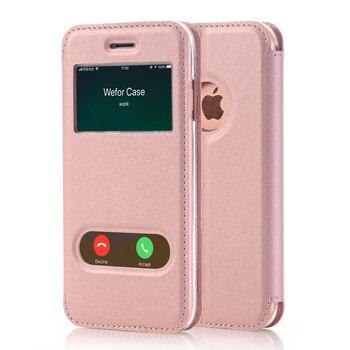 d39d5f8c3f3 Funda abatible de cuero PU para iPhone 7 8 Plus fundas de lujo para  teléfono con soporte de ventana con cierre magnético para iPhone 7 funda de  silicona