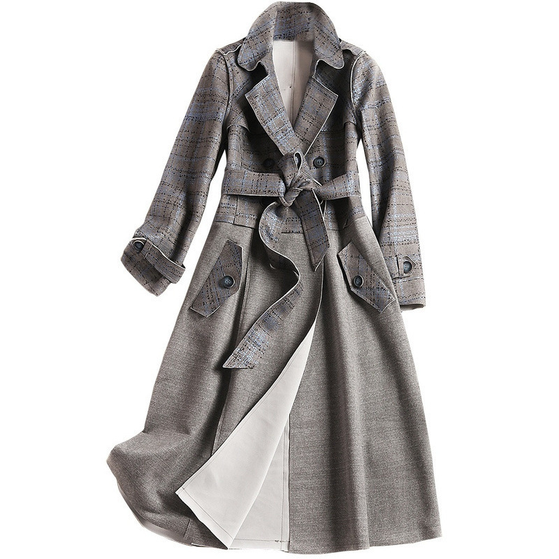 Manteau Taille Automne vent Grande Carreaux Après Nouveau Britannique À Mode Gris Long De Vent Couture Longues Manches 2019 Coupe Sort Et TSpPnw1Tf