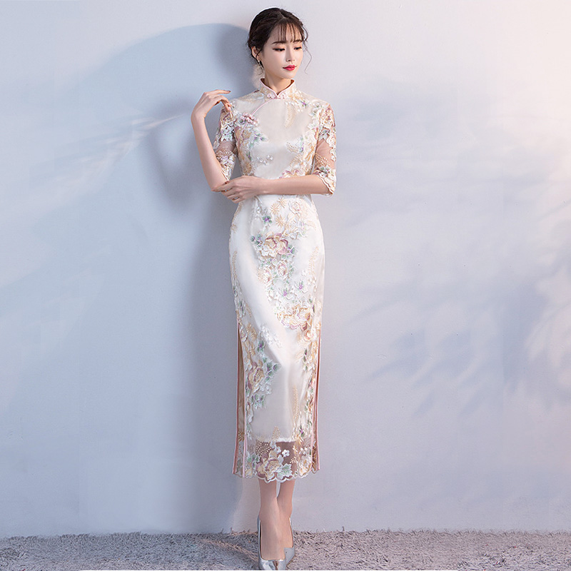Wedding Party Cheongsam Oriental Evening Dress Chinese Traditional Women Elegant Qipao Sexy Long Robe Retro Vestido S M L XL XXL-in Cheongsams from Novelty & Special Use    2