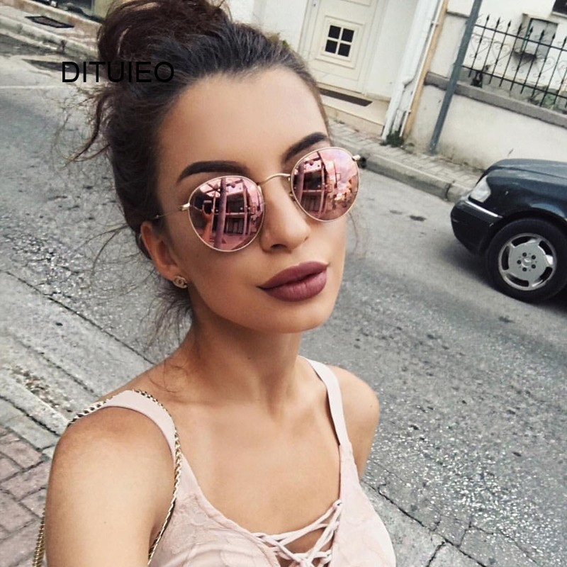 New Brand Designer Vintage Oval Sunglasses Women Retro Clear Lens Eyewear Round Sun Glasses For Female Ladies Oculos De Sol