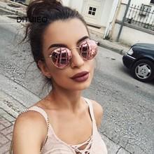 Nowy projektant marki Vintage owalne okulary przeciwsłoneczne damskie Retro okulary z czystymi soczewkami okrągłe okulary przeciwsłoneczne dla kobiet Ladies Oculos De Sol tanie tanio Lustro UV400 Antyrefleksyjną Stop Kobiety Dla dorosłych Akrylowe 48mm 50mm DITUIEO