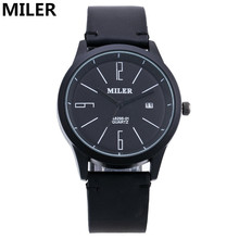 Top Brand Miler Men Watch Luxury Leather Quartz Watch Fashion Men's Military Bussiness Wrist Watch Relogio Masculino Clock