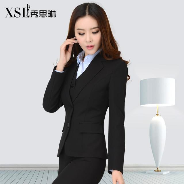 Conjuntos de Ternos 2016 Outono Inverno Femal das mulheres da Longo-Luva Das Senhoras Formais Pant Ternos Roupas de Trabalho Formal Elegante Blazer + Pant