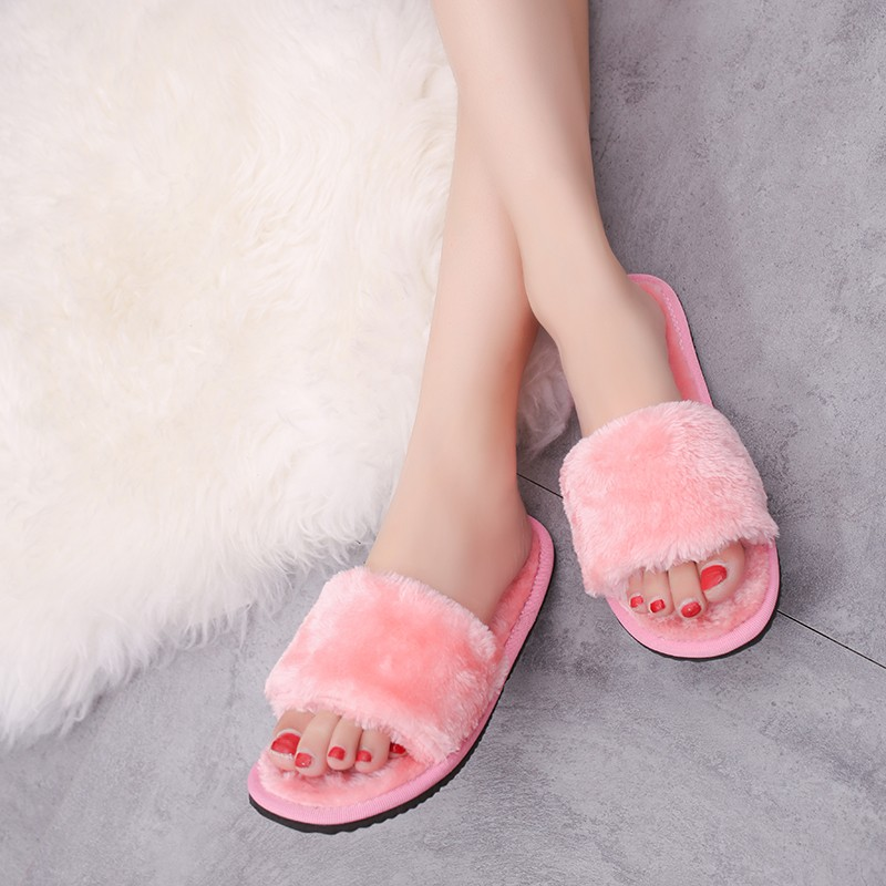 BISI GORO Comfortable Women Slippers Warm Winter Shoes Woman Peep Toe Fur Lined Flip Flops Indoor Home Shoes Floor Slides plush winter slippers indoor animal emoji furry house home with fur flip flops women fluffy rihanna slides fenty shoes