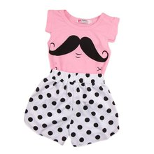 Baby Girls Clothing Set Sleeveless T-shirt+Polka Dot Pant 2pcs/set Kids Cotton Clothes Set 2-7 Years