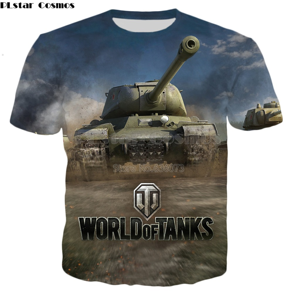 PLstar Cosmos 2019 Summer New Fashion Mens T-shirt Games World Of Tanks Patterns 3D Print Men Women Casual Cool T Shirt Tops