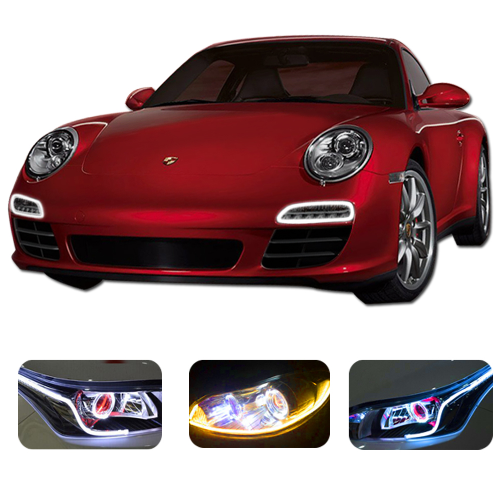 <font><b>60cm</b></font> Flexible Car DRL <font><b>LED</b></font> Daytime Running Lights Automobiles Parking Lamps Angel Eyes Light <font><b>LED</b></font> Tube Strip Fog Lamp Car-styling