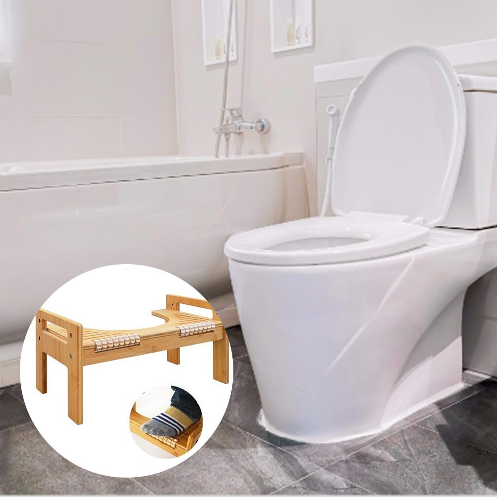 Adjustable Bamboo U Shaped Squatting Toilet Stool Non Slip Pad Bathroom Helper Assistant Footseat Relieves Constipation Piles