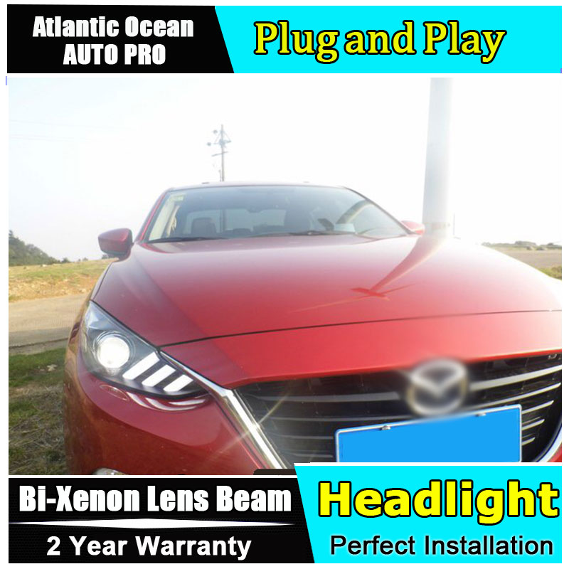 Car Styling For Mazda 3 headlights 2014-2016 Mazda3 led headlight Axela led drl turn signal drl HID KIT Bi-Xenon Lens low beam akd car styling for kia k2 rio headlights 2011 2014 korea design k2 led headlight led drl bi xenon lens high low beam parking