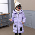 Winter Jacket for Girls Letter Patch Kids Down Coat Hooded Winter Girls Coat 4 Color 6-14T Children Outerwear Jacket dj059