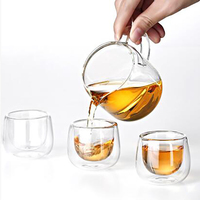 ZGJGZ High Quality Heat Resistant Glass Tea Set Double Wall Glass Cups Small Teapot Healthy Product Samadoyo 7pcs Set