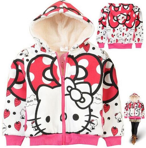 Hello Kitty children outerwear 2016 autumn long sleeve thick fleece hoodies fashion girls warm zipper coat cartoon sweatshirt