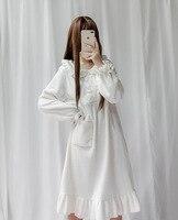 Tree&Sea Winter Women Coral fleece dress Girl Lolita Pajams Sweet Doll lolita Flannel homewear dress cute soft sleepwear