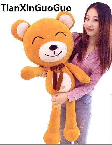 Remplissages jouet grand 120 cm brun ours en peluche jouet bonne nuit sourire ours doux poupée calin oreiller cadeau d'anniversaire w2530