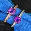 Классические серебряные кольца для свадьбы природные фиолетовый кристалл ювелирные изделия 6 мм * 6 мм подлинная аметист ювелирные изделия летие кольцо подарков для жены