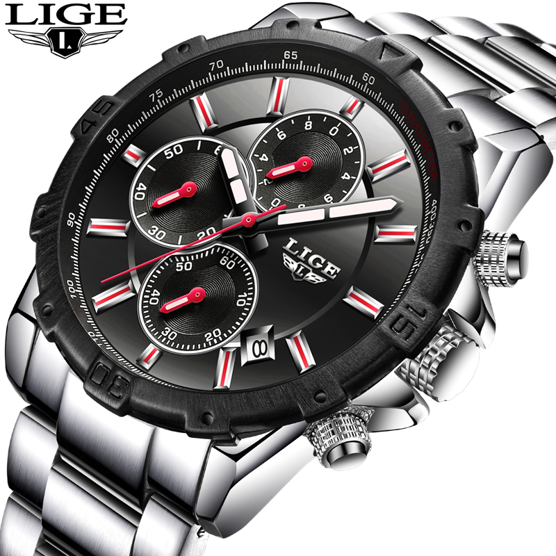 LIGE Watch Men Fashion Sport Quartz Clock Mens Watches Top Brand Luxury Full Steel Business Waterproof Watch Relogio Masculino new fashion men business quartz watches top brand luxury curren mens wrist watch full steel man square watch male clocks relogio