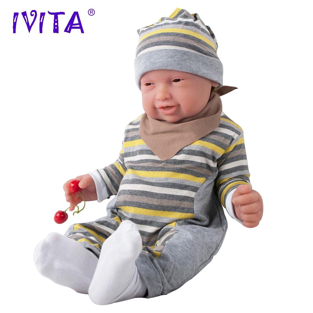 IVITA 59 cm 5210g Silicone Bébés Reborn Réaliste Brun Yeux Doux Bébé Silicone Poupées Réaliste Reborn Silicone Poupées Jouets