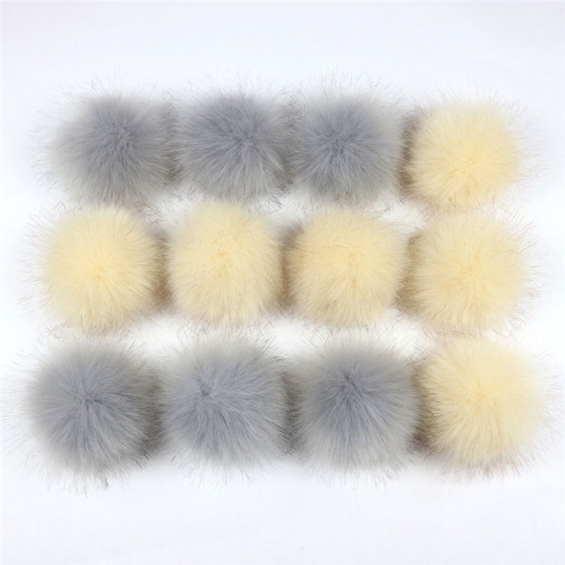 12 PCs Mixed Pom Pom Balls Imitation Fox Fur Gray Khaki Single/Double Color Round With Ring 8cm Dia. Hat Bag Clothes Decorations
