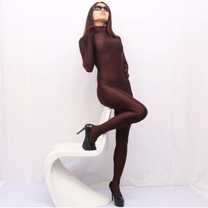 Image 2 - צווארון עומד רך ספנדקס סרבל נשים לייקרה גוף בעיצוב סקסי סרבלי קוספליי ביצועי תלבושות מקשה אחת גרביונים Rompers