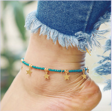 2019 Fashion Five-Pointed Star Tassel Beaded Anklet For Woman Braided Rope Leg Anklets Foot Chains Trinket Pendant Jewelry Gifts