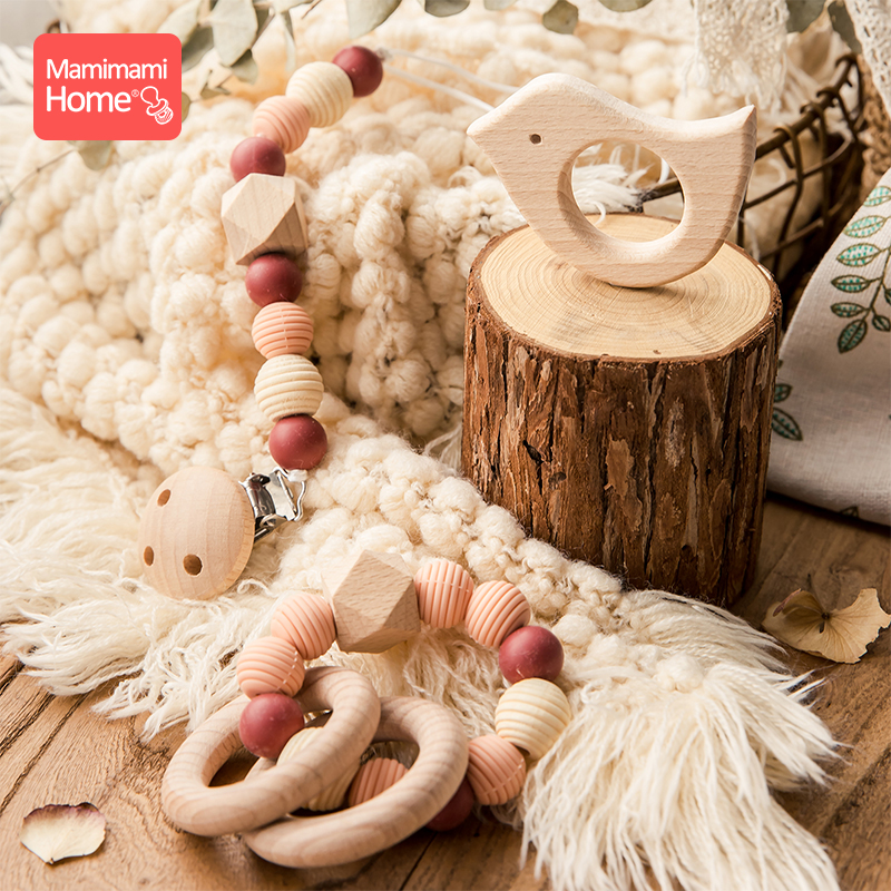 mamihome 3Pc Set wooden silicone teether pacifier chain Food Grade perle Silicone beads baby Rattle toy beech wooden rodent toys in Baby Teethers from Mother Kids
