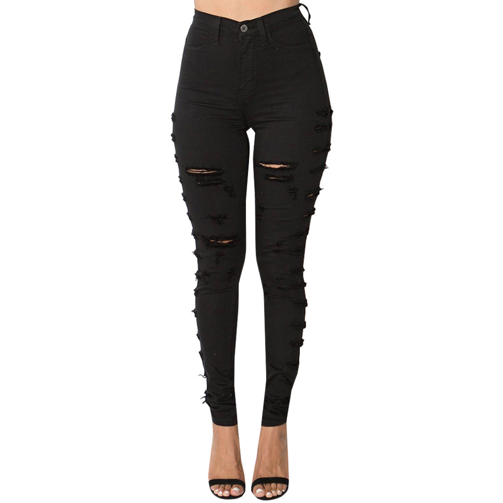 где купить Women 2017 High Waist Ripped Jeans Plus Size Denim Pants Black White Hole Jeans Casual Slim Pencil Skinny Jeans Female Trousers по лучшей цене