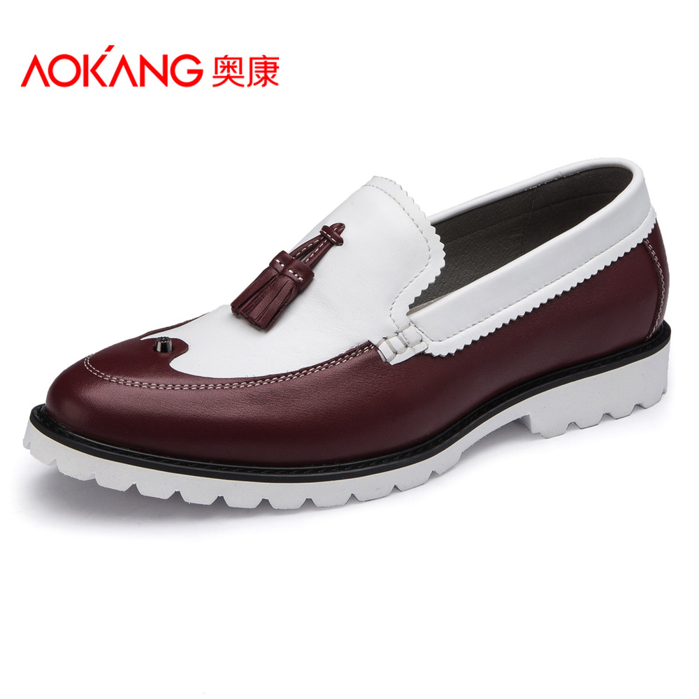 ФОТО Aokang Vintage Leather Shoes For Men  Spring Casual Slip-on Mens Shoes Genuine Leather Shoes Cowhide Classic Oxford Shoes