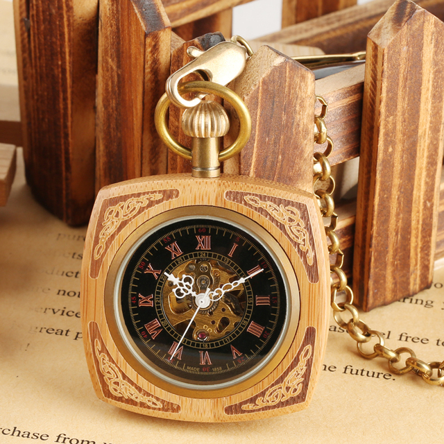 High Quality New Arrival Bamboo Design Mechanical Pocket Watch Roman Numbers Dis