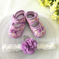Kids flowers Shoes  Girl Princess Lace Headband Cute Infant Girl Toddler Shoes Set Newborn Photography Props 5TX08