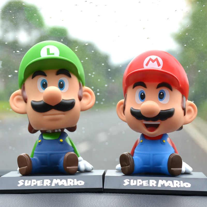 ตลก Super Mario Bros รถตุ๊กตาหัวเขย่าของเล่นน่ารักเครื่องประดับรถ Auto ตกแต่งภายในอุปกรณ์เสริมของขวัญเด็ก 2019