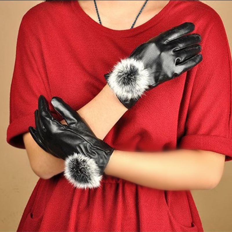 8d83d9ae21a6d C MISM Winter Warm Mitten Women PU Leather Rabbit Fur Balls Female Gloves  Causal Wrist Soft Covered Finger Velvet Fitness Gloves-in Gloves   Mittens  from ...