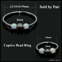 New Fashion Pair Opal Silver Captive Bead Ring Septum Nose Hoop Ear Cartilage Helix Ring Lip