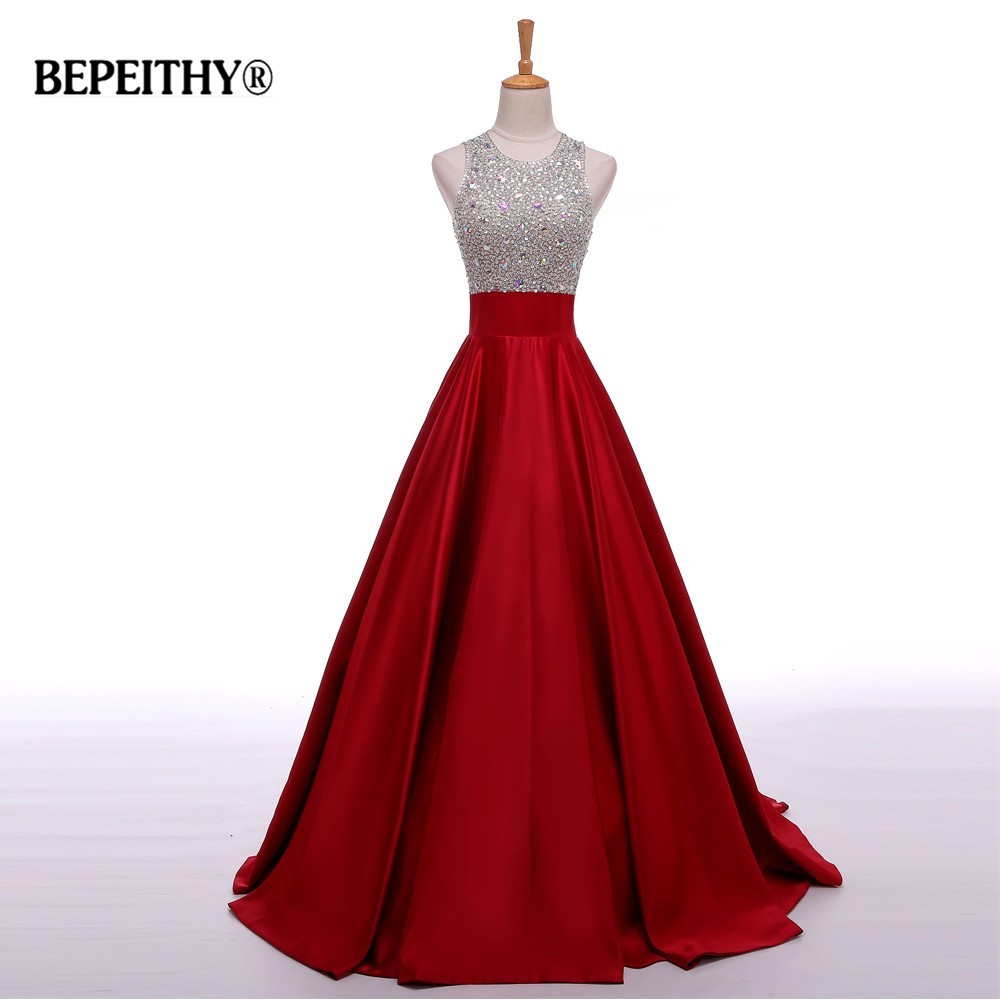 Real Image A Line Long Evening Dress Beadings Crystal Bodice Open Back Party Elegant 2017 Vestido De Festa New Prom Gowns(China)