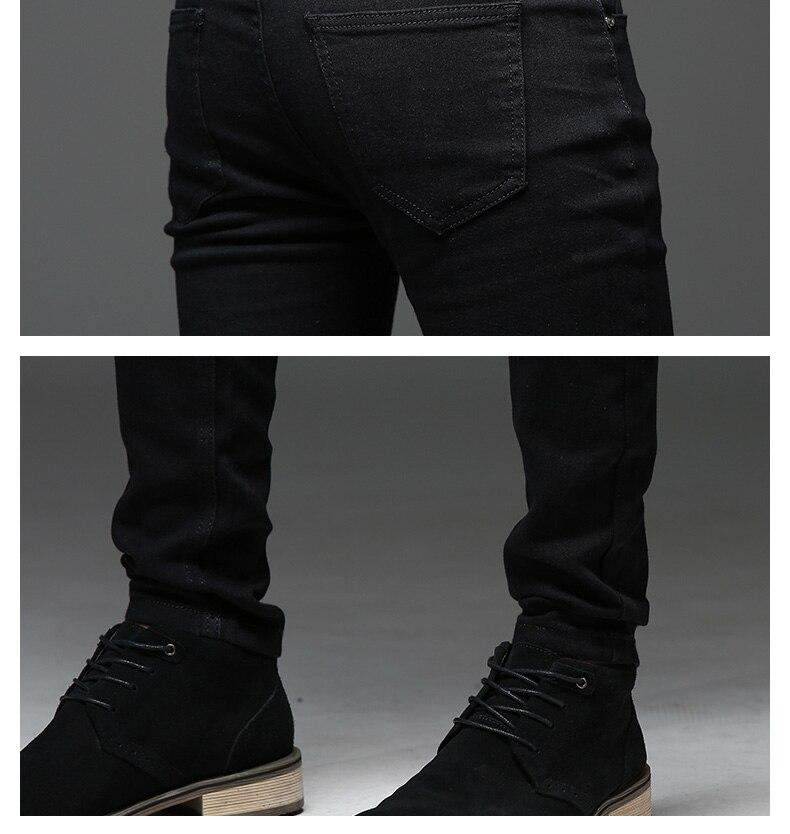 Nuevo 2018 Negro hombres Jeans estilo coreano moda para hombre flaco ...