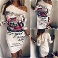 2017 verano nueva moda de las mujeres impreso cuello redondo mini dress