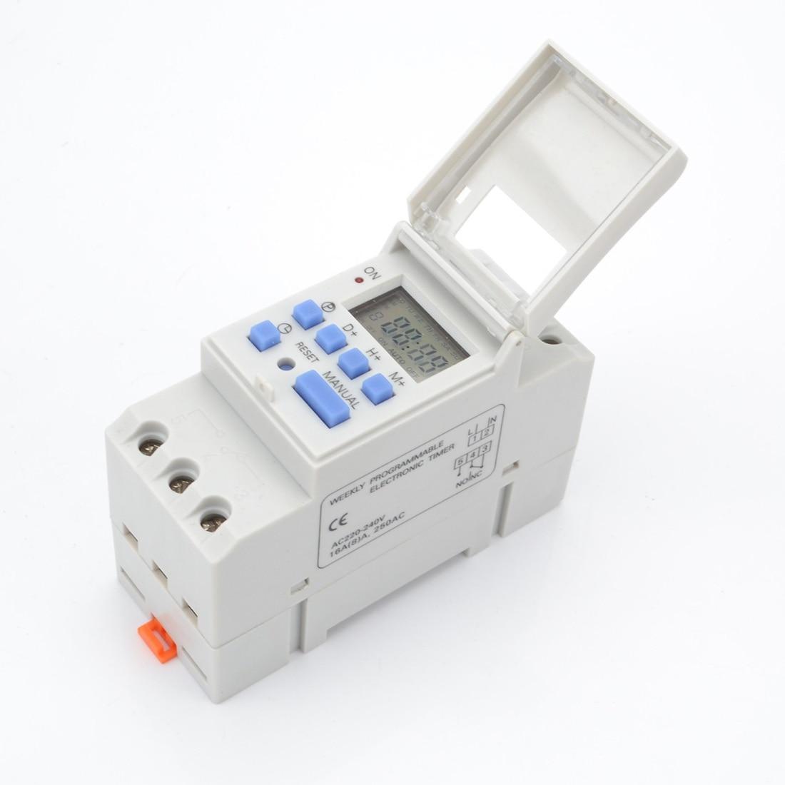 AC 220 V Digital LCD temporizador de potencia programable interruptor de tiempo relé 16A temporizador Din Rail