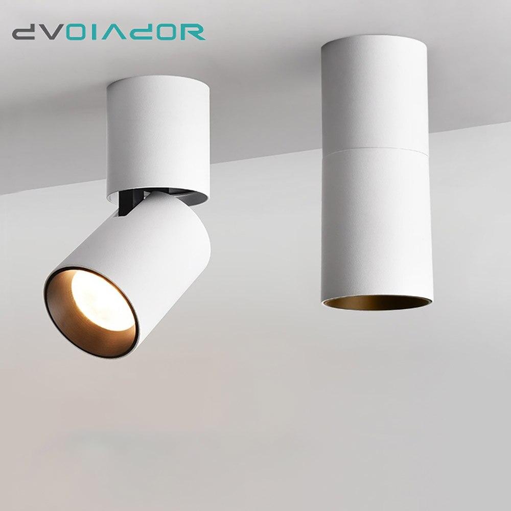 DVOLADOR Levou Superfície Montado Downlight Teto Ajustável 360 graus Spot light para o interior Foyer, Sala de estar Cozinha AC90-260V